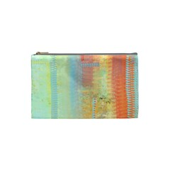 Unique abstract in green, blue, orange, gold Cosmetic Bag (Small)