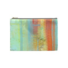 Unique abstract in green, blue, orange, gold Cosmetic Bag (Medium)