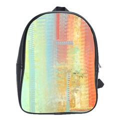 Unique abstract in green, blue, orange, gold School Bags(Large)
