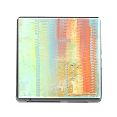 Unique abstract in green, blue, orange, gold Memory Card Reader (Square)