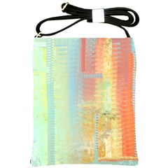 Unique abstract in green, blue, orange, gold Shoulder Sling Bags