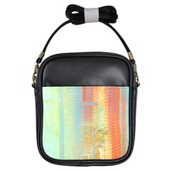 Unique abstract in green, blue, orange, gold Girls Sling Bags
