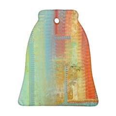 Unique abstract in green, blue, orange, gold Bell Ornament (2 Sides)