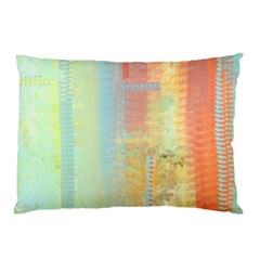 Unique abstract in green, blue, orange, gold Pillow Case (Two Sides)