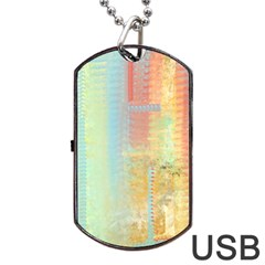 Unique abstract in green, blue, orange, gold Dog Tag USB Flash (Two Sides)