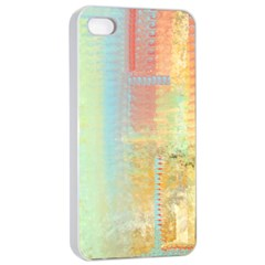 Unique abstract in green, blue, orange, gold Apple iPhone 4/4s Seamless Case (White)