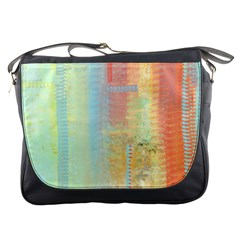 Unique Abstract In Green, Blue, Orange, Gold Messenger Bags