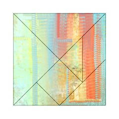 Unique abstract in green, blue, orange, gold Acrylic Tangram Puzzle (6  x 6 )