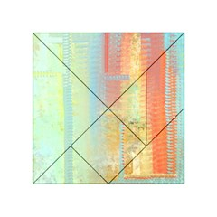 Unique abstract in green, blue, orange, gold Acrylic Tangram Puzzle (4  x 4 )