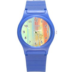 Unique abstract in green, blue, orange, gold Round Plastic Sport Watch (S)