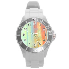 Unique abstract in green, blue, orange, gold Round Plastic Sport Watch (L)