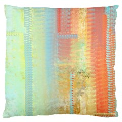 Unique abstract in green, blue, orange, gold Large Cushion Case (One Side)
