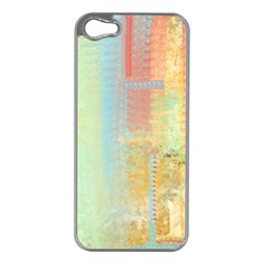 Unique Abstract In Green, Blue, Orange, Gold Apple Iphone 5 Case (silver)