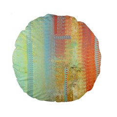 Unique abstract in green, blue, orange, gold Standard 15  Premium Round Cushions