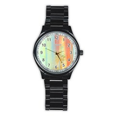 Unique Abstract In Green, Blue, Orange, Gold Stainless Steel Round Watch