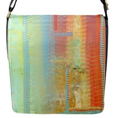 Unique abstract in green, blue, orange, gold Flap Messenger Bag (S)