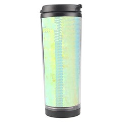 Unique abstract in green, blue, orange, gold Travel Tumbler
