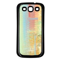 Unique abstract in green, blue, orange, gold Samsung Galaxy S3 Back Case (Black)