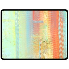 Unique abstract in green, blue, orange, gold Double Sided Fleece Blanket (Large)