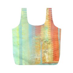 Unique abstract in green, blue, orange, gold Full Print Recycle Bags (M)