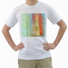 Unique Abstract In Green, Blue, Orange, Gold Men s T Shirt (white)