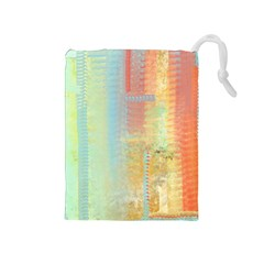 Unique abstract in green, blue, orange, gold Drawstring Pouches (Medium)