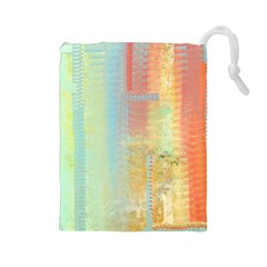 Unique abstract in green, blue, orange, gold Drawstring Pouches (Large)