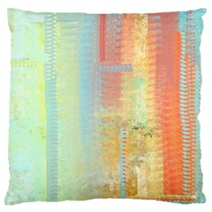 Unique abstract in green, blue, orange, gold Large Flano Cushion Case (One Side)