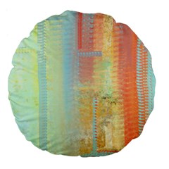 Unique abstract in green, blue, orange, gold Large 18  Premium Flano Round Cushions