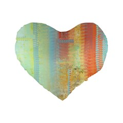 Unique abstract in green, blue, orange, gold Standard 16  Premium Flano Heart Shape Cushions