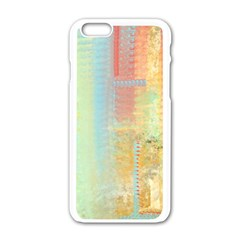 Unique abstract in green, blue, orange, gold Apple iPhone 6/6S White Enamel Case