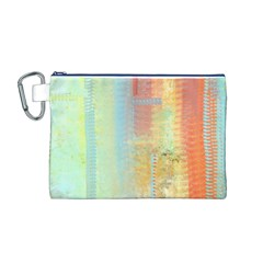 Unique abstract in green, blue, orange, gold Canvas Cosmetic Bag (M)