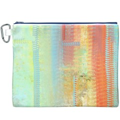 Unique abstract in green, blue, orange, gold Canvas Cosmetic Bag (XXXL)
