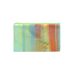 Unique abstract in green, blue, orange, gold Cosmetic Bag (XS)