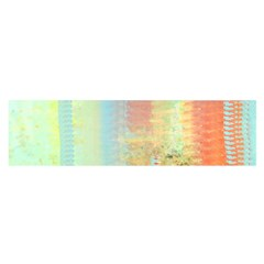 Unique Abstract In Green, Blue, Orange, Gold Satin Scarf (oblong)