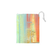 Unique abstract in green, blue, orange, gold Drawstring Pouches (XS)