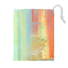 Unique abstract in green, blue, orange, gold Drawstring Pouches (Extra Large)