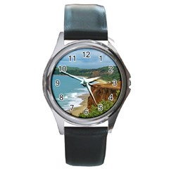 Aerial Seascape Scene Pipa Brazil Round Metal Watch