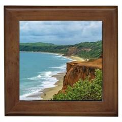 Aerial Seascape Scene Pipa Brazil Framed Tiles