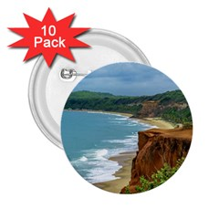 Aerial Seascape Scene Pipa Brazil 2.25  Buttons (10 pack)