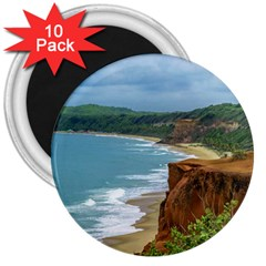 Aerial Seascape Scene Pipa Brazil 3  Magnets (10 pack)