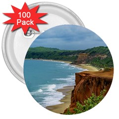 Aerial Seascape Scene Pipa Brazil 3  Buttons (100 pack)
