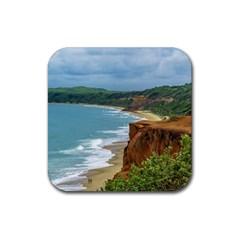 Aerial Seascape Scene Pipa Brazil Rubber Square Coaster (4 pack)