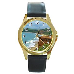 Aerial Seascape Scene Pipa Brazil Round Gold Metal Watch