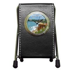 Aerial Seascape Scene Pipa Brazil Pen Holder Desk Clocks