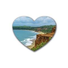 Aerial Seascape Scene Pipa Brazil Rubber Coaster (Heart)