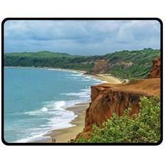 Aerial Seascape Scene Pipa Brazil Fleece Blanket (Medium)