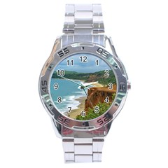 Aerial Seascape Scene Pipa Brazil Stainless Steel Analogue Watch