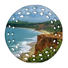Aerial Seascape Scene Pipa Brazil Round Filigree Ornament (2Side)