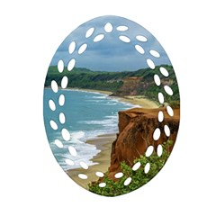 Aerial Seascape Scene Pipa Brazil Ornament (Oval Filigree)